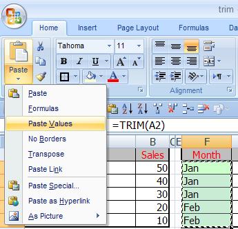 الدالة TRIM 04
